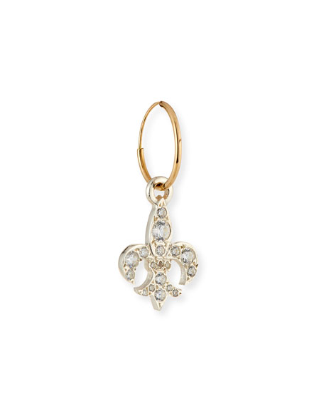 Fleur de Lis Single Earring with Crystals