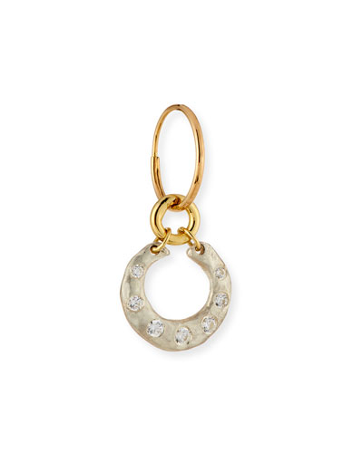 Two-Tone Crescent Single Earring with Stones