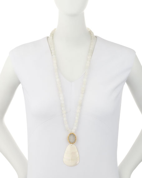 Moonstone Beaded Necklace with Shell Pendant