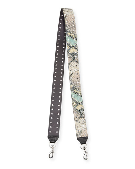 Snake-Embossed Studded Guitar Strap for Handbag