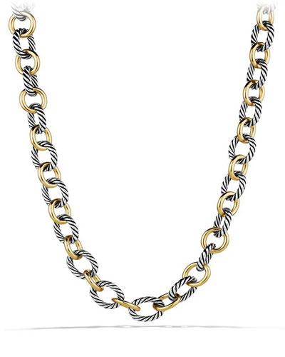 Large Sterling Silver & 18K Gold Oval Link Necklace