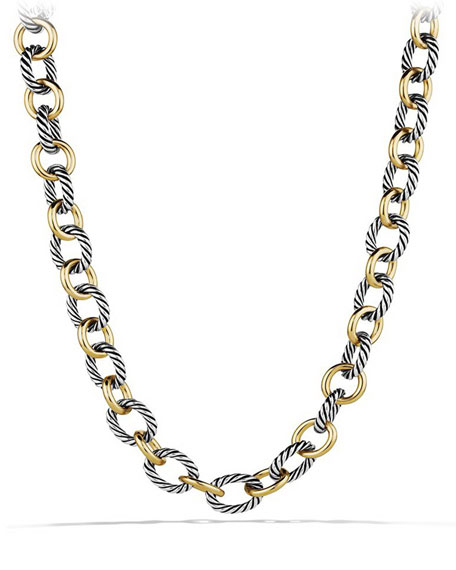 Large Sterling Silver & 18K Gold Oval Link Necklace