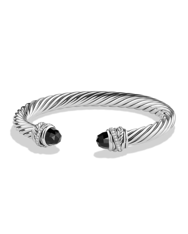 3c9c7f2f4973 David Yurman 7mm Black Onyx & Diamond Crossover Bracelet | Neiman Marcus