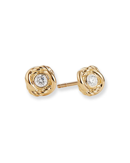 David Yurman Infinity Earrings With Diamonds In Gold