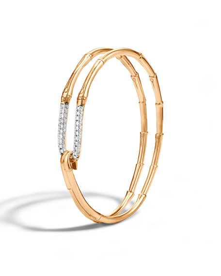 John Hardy 18k Gold Bamboo Hook Bracelet w/ Diamonds, Size S