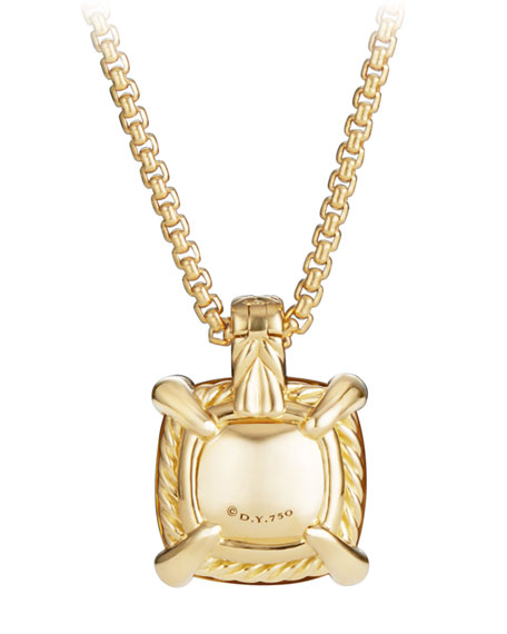 David Yurman 14mm Châtelaine Pendant Necklace in 18K Gold with Citrine & Diamonds