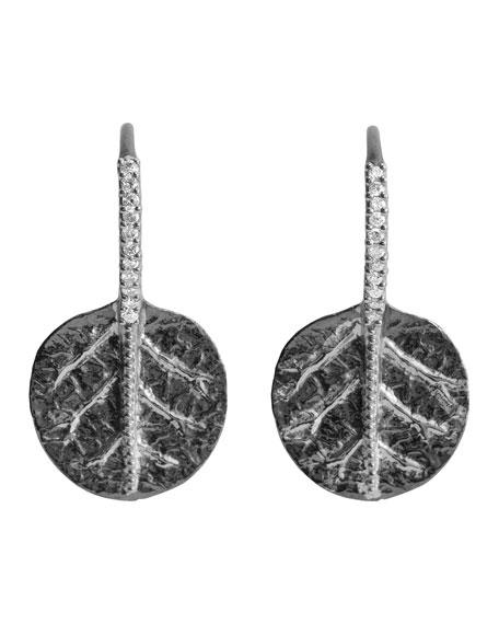 Michael Aram Botanical Leaf Earrings in Silver with Diamonds