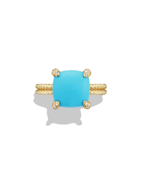 Image 3 of 4: David Yurman Châtelaine 18k Gold 11mm Turquoise Ring w/ Diamonds, Size 6