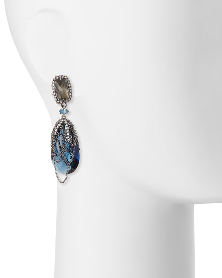 Draped Chain Crystal Clip-On Earrings, Blue