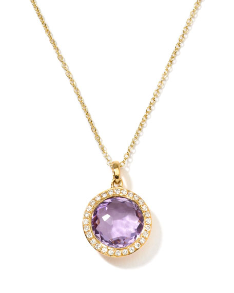 Ippolita Rock Candy 18k Gold Mini Lollipop Necklace in Amethyst & Diamond