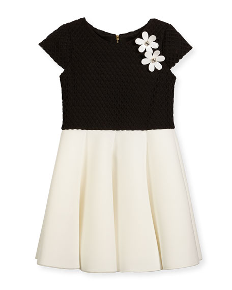 Zoe Cap-Sleeve Pleated Jacquard & Ponte Dress, Black/White,