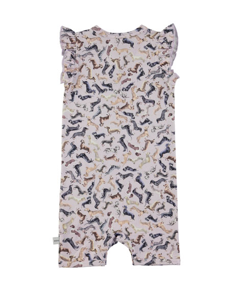 Faris Ruffle-Trim Printed Overalls, Size 3-12 Months