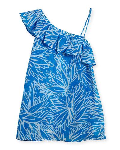 Blue Lotus Ruffle-Shoulder Coverup, Blue/Orange, Size 10-16