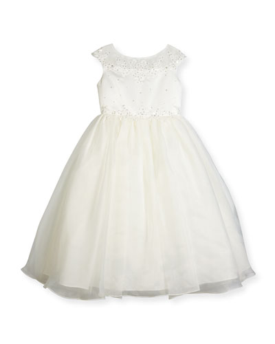 Beaded Satin & Organza Special Occasion Dress, White, Size 7-14