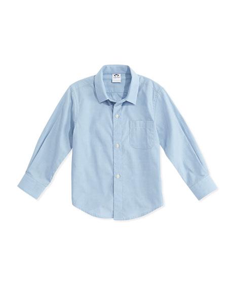 Appaman Long-Sleeve Cotton Pin-Dot Shirt, Blue, Size 2-14