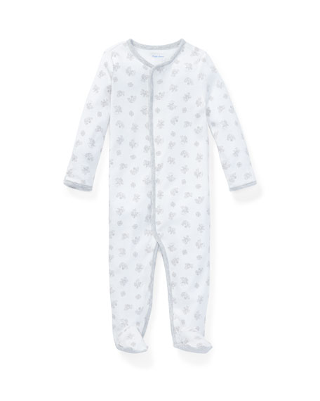 Image 1 of 2: Ralph Lauren Childrenswear Printed Interlock Footie Pajamas, Size Newborn-9 Months