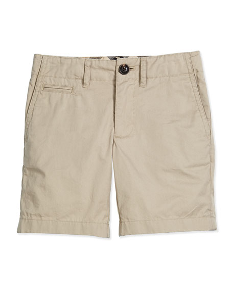 Burberry Tristen Cotton Chino Shorts, Taupe, Size 4-14