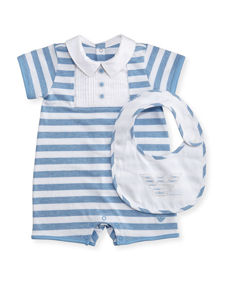 Armani Junior Striped Jersey Polo Shortall w/ Bib,