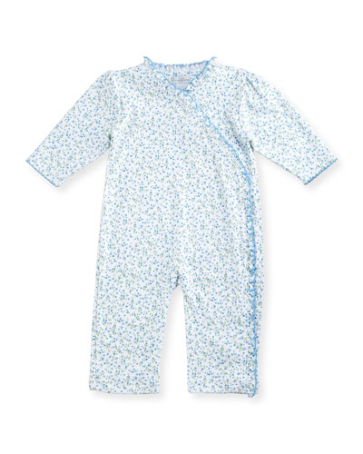 Spring Meadow Printed Pima Coverall, Blue, Size 3-24 Months