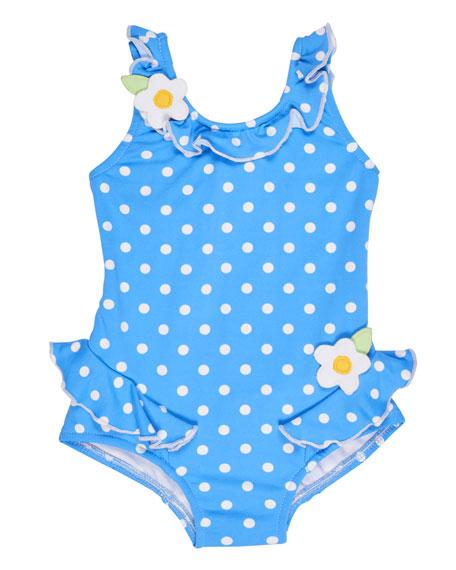 Florence Eiseman Polka-Dot Ruffle Swimsuit, Blue, Size 2T