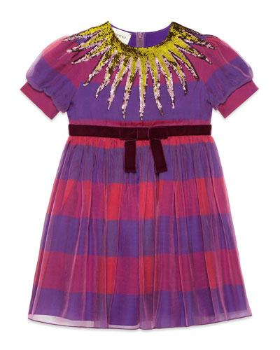 Short-Sleeve Striped Sequin Dress, Size 4-12