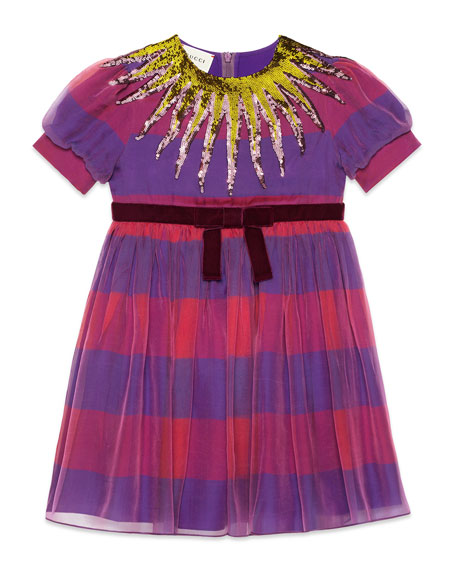 Gucci Short-Sleeve Striped Sequin Dress, Size 4-12
