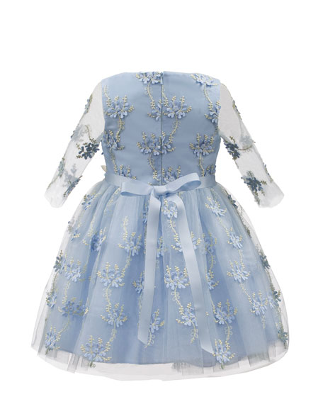 Embroidered Floral Overlay Dress w/ 3D Flower Belt, Size 3-6