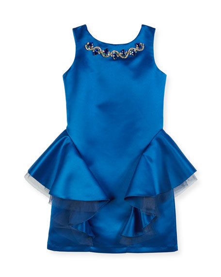 David Charles Sleeveless Embellished Dress w/ Tulle Peplum