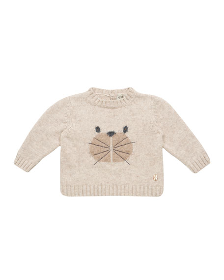 Pili Carrera Knit Bear Intarsia Sweater, Size 12M-3T