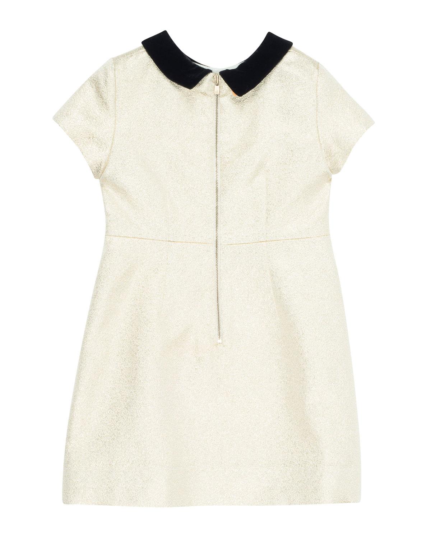 09a828ec9 Bonpoint Glittered Dress w/ Contrast Velvet Collar, Size 4-8 | Neiman Marcus