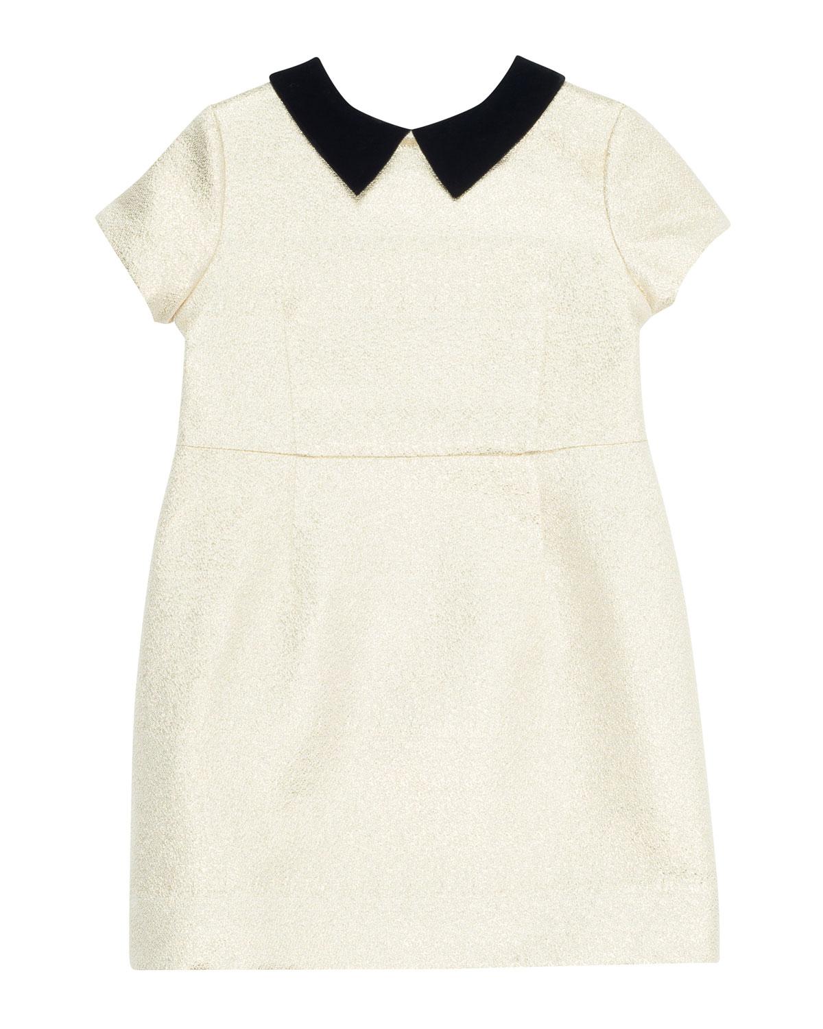 0e56837d8 Bonpoint Glittered Dress w/ Contrast Velvet Collar, Size 4-8 ...