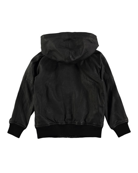 Hector Hooded Leather Jacket, Size 4-12