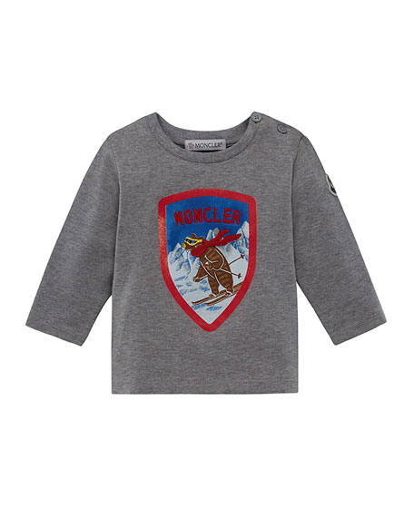Moncler Long-Sleeve Maglia Skiing Bear T-Shirt, Size 12M-3T