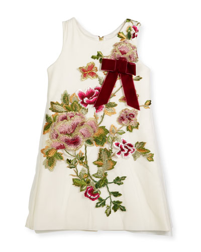 Winter Rose-Embroidered A-Line Dress, Size 4-6X