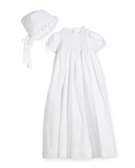 Isabel Garreton Pearls Smock Embroidered Cotton Christening Gown 4f6ac5bc1