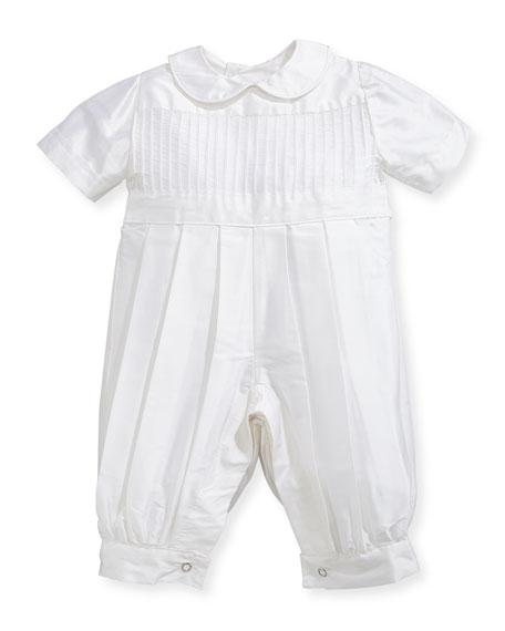 Isabel Garreton Boys' Tucks Silk Christening Playsuit, Size