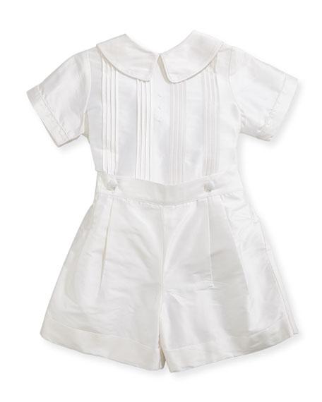 Isabel Garreton Boys' Sebastian Two-Piece Silk Ring Bearer Set, White, Size 12-24 Months