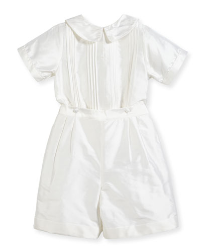 Boys' Sebastian Two-Piece Silk Ring Bearer Set  White  Size 2-4