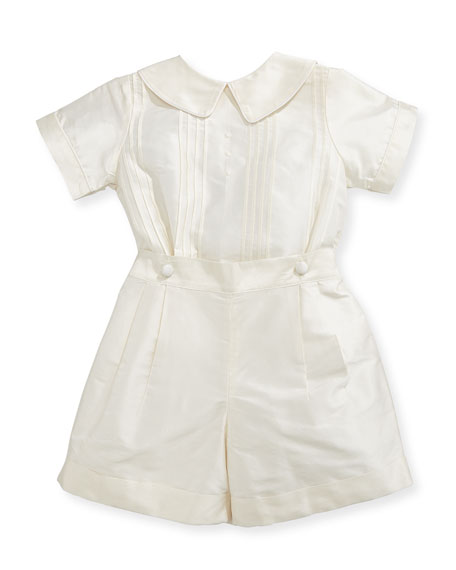 Isabel Garreton Boys' Sebastian Two-Piece Silk Ring Bearer Set, Ivory, Size 12-24 Months