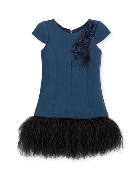 Zoe Feather Flounce Drop-Waist Dress, Size 4-6X and