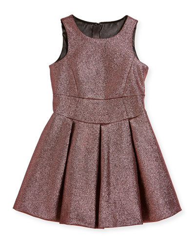 Scoop-Neck Metallic Dress, Size 4-7