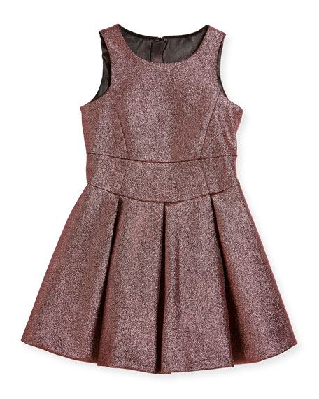 Milly Minis Scoop-Neck Metallic Dress, Size 4-7