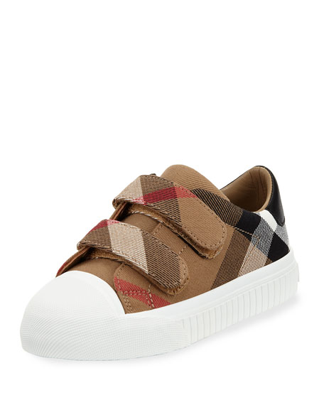 Burberry Belside Check Grip-Strap Sneaker, Toddler/Youth Sizes 10T-4Y