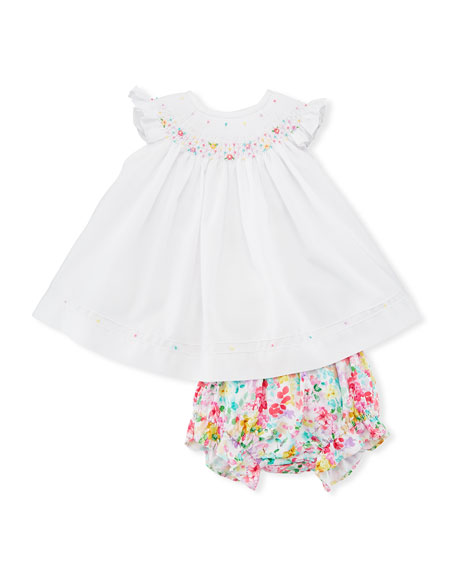 Luli & Me Embroidered Bishop Dress, w/ Floral
