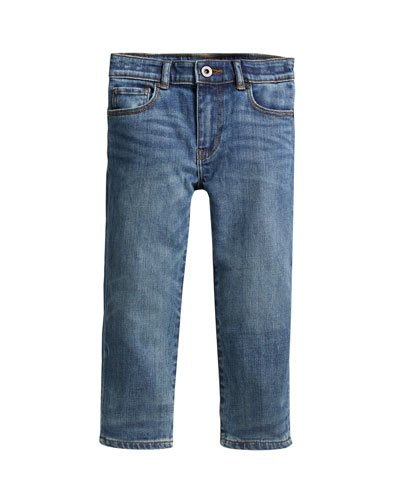Boys' Relaxed Faded Denim Jeans, Size 4-14