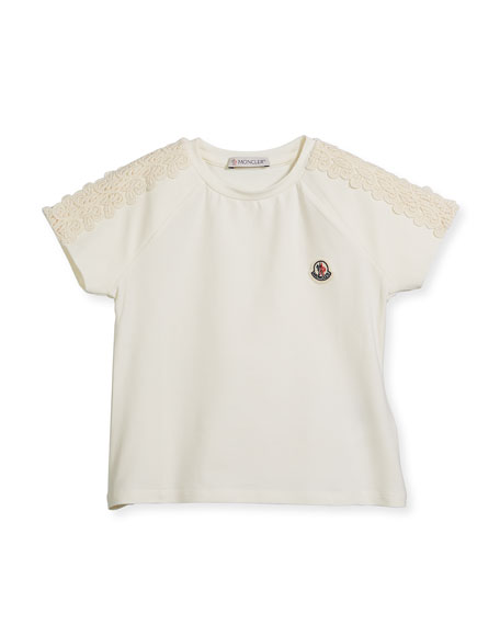Moncler Maglia Short-Sleeve T-Shirt w/ Lace Trim, Size