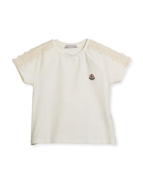 Maglia Short-Sleeve T-Shirt w/ Lace Trim, Size 8-14