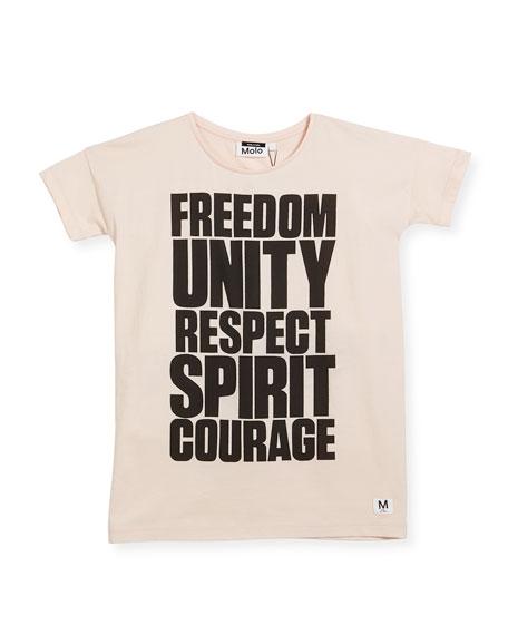 Molo Rilla Short-Sleeve Graphic T-Shirt, Pink, Size 4-14