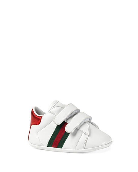 Gucci New Ace Leather Grip-Strap Sneaker, Baby