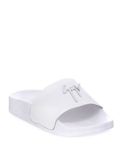 Birel Leather Slide Sandal  White  Toddler/Youth Sizes 9T-2Y